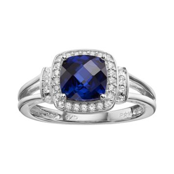 Lab-Created Blue & White Sapphire Sterling Silver Square Halo Ring
