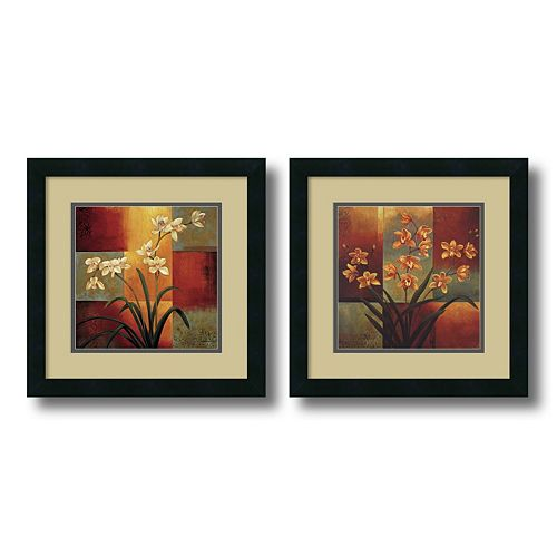 ''Orchid'' Floral 2-piece Framed Wall Art Set