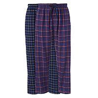 Big & Tall Hanes 2 pkPlaid Flannel Lounge Pants