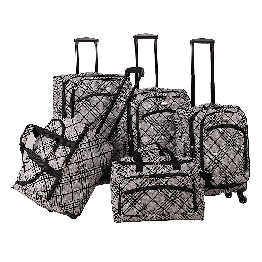 American Flyer Silver Stripes 5-Piece Spinner Luggage Set