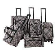 American Flyer Silver Stripes 5 pc Spinner Luggage Set