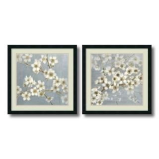 ''Silver Blossoms'' Floral 2-piece Framed Wall Art Set