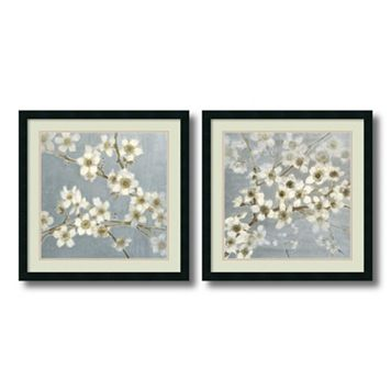 ''Silver Blossoms'' Floral 2-piece Framed Wall Art Set