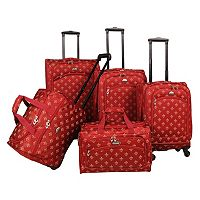 American Flyer Fleur-de-Lis 5 pc Spinner Luggage Set