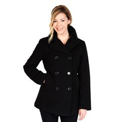 Womens Black Peacoat Wool & Wool Blend Coats & Jackets - Outerwear ...