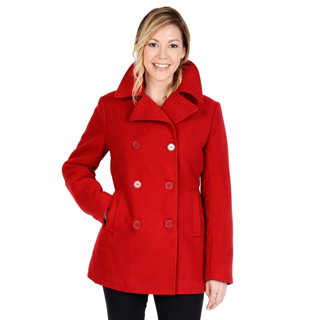 Women's Excelled Double-Breasted Faux-Wool Peacoat