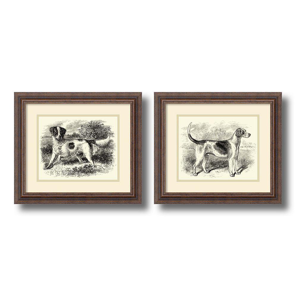 'English Setter & Foxhound'' Dog 2-piece Framed Wall Art Set