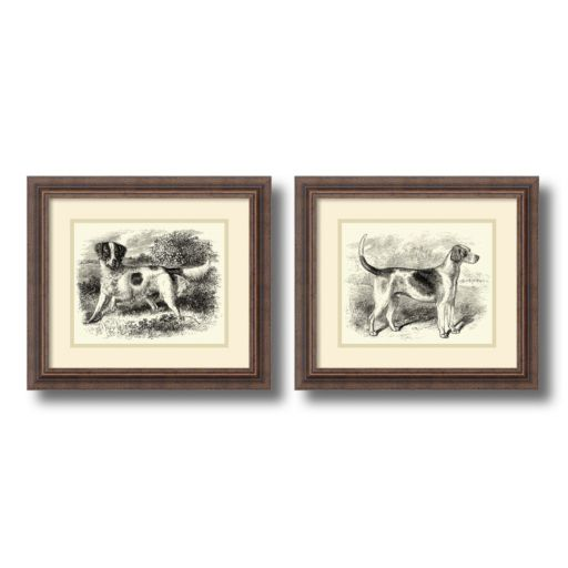 'English Setter and Foxhound'' Dog 2-piece Framed Wall Art Set