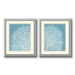 ''Aqua Coral'' 2 pc Framed Wall Art Set