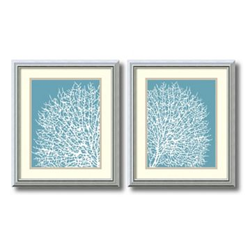 ''Aqua Coral'' 2-piece Framed Wall Art Set