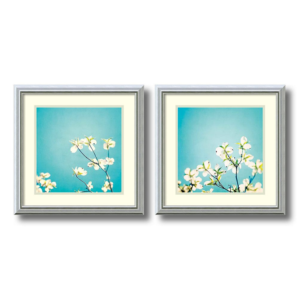 ''Delicate Skies of Blue'' Floral 2-piece Framed Wall Art Set