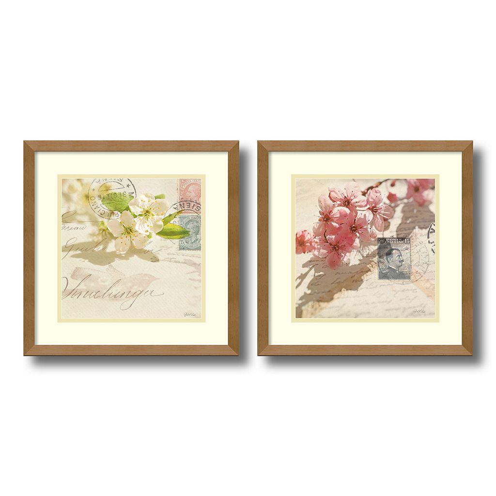 'Vintage Letters & Blossoms'' 2-piece Framed Wall Art Set