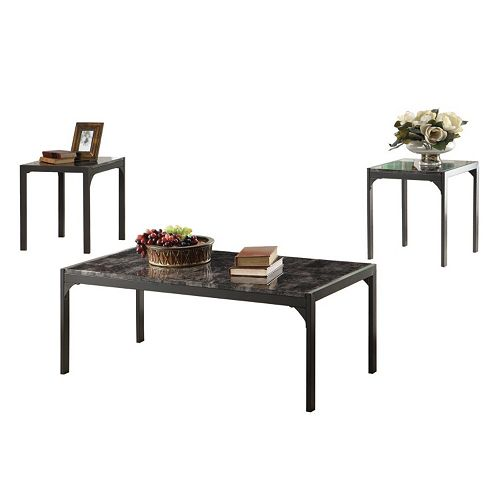 Coaster 3 Piece Faux Marble Coffee Side Table Set