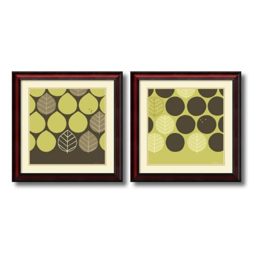 ''Forest Motif'' Leaf 2-piece Framed Wall Art Set
