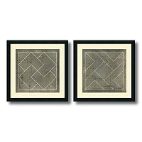 'Geometric Blueprint III & IV'' 2 pc Framed Wall Art Set