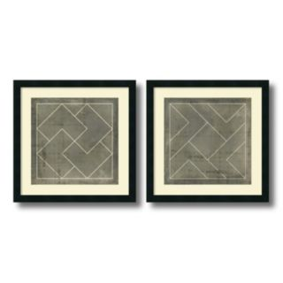 'Geometric Blueprint III and IV'' 2-piece Framed Wall Art Set
