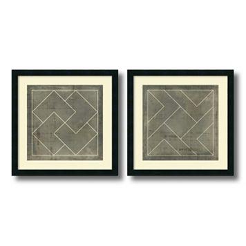 'Geometric Blueprint III & IV'' 2-piece Framed Wall Art Set