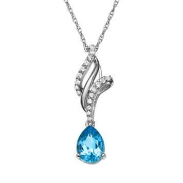 Blue Topaz & Lab-Created White Sapphire Swirl Teardrop Pendant Necklace