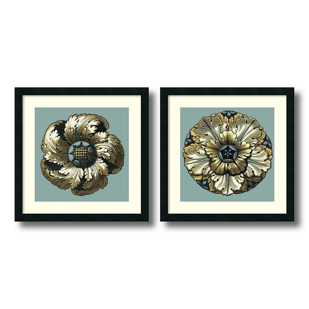 'Floral Medallion II & V'' 2-piece Framed Wall Art Set