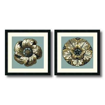 'Floral Medallion II & V'' 2-piece Framed Wall Art Set