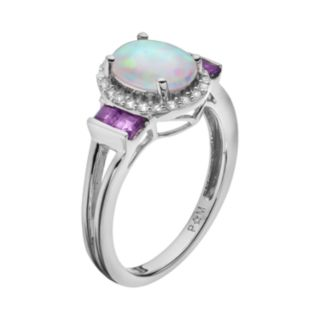 Lab-Created Opal & Gemstone Sterling Silver Oval Halo Ring
