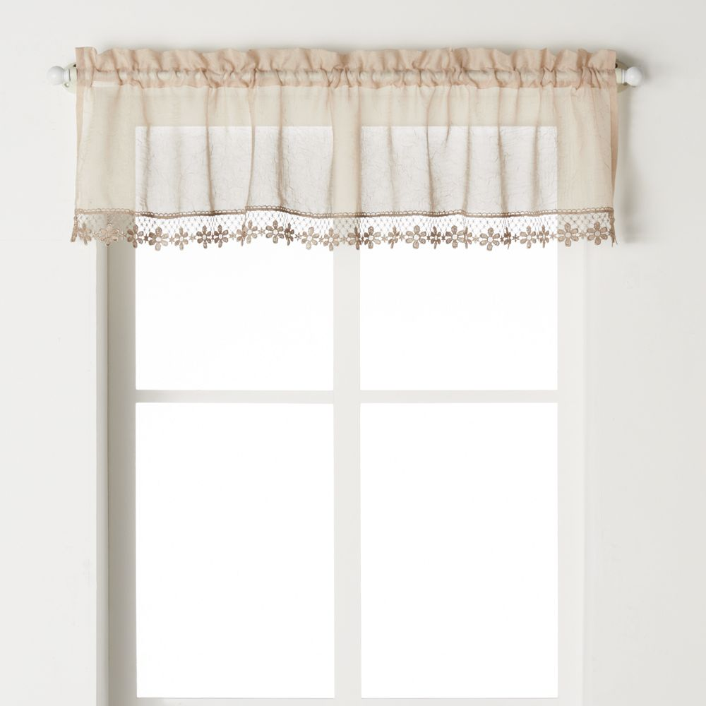 CHF Leanne Macrame Voile Kitchen Window Valance - 58'' x 14''