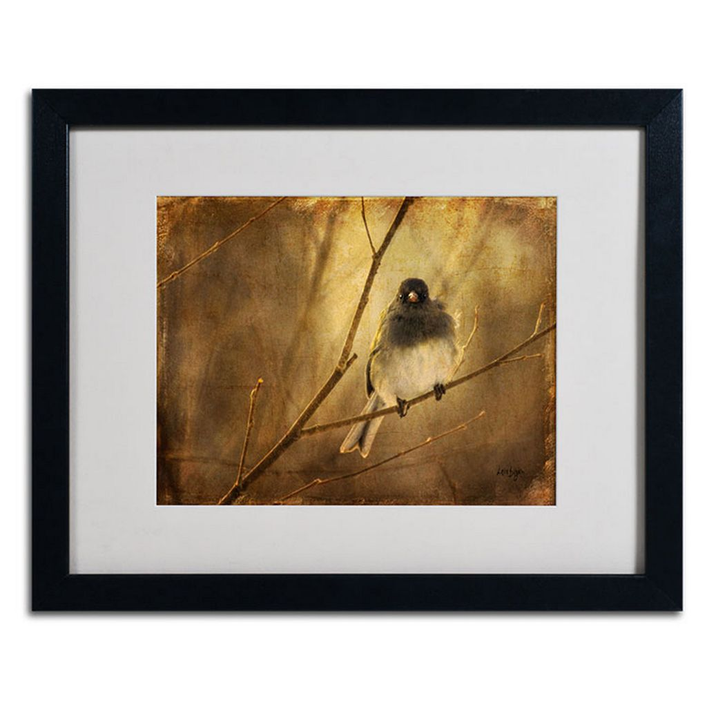 16'' x 20'' ''Backlit Birdie Being Buffeted'' Framed Canvas Wall Art by Lois Bryan