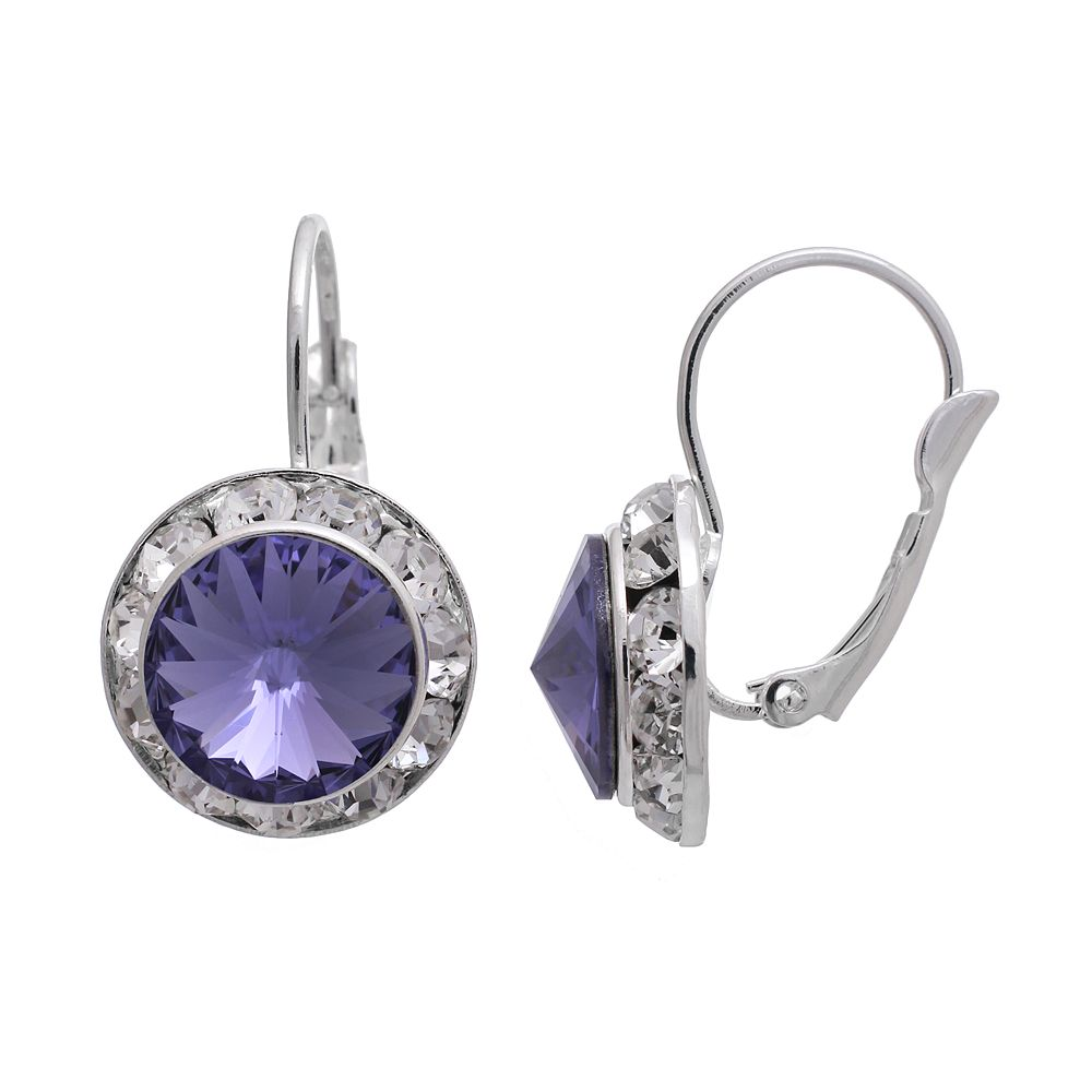 Illuminaire Crystal Silver-Plated Halo Drop Earrings - Made with Swarovski Crystals