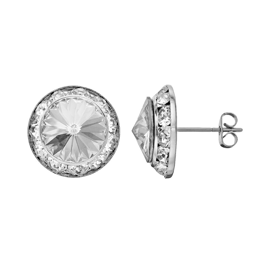 Illuminaire Crystal Silver-Plated Halo Stud Earrings - Made with Swarovski Crystals
