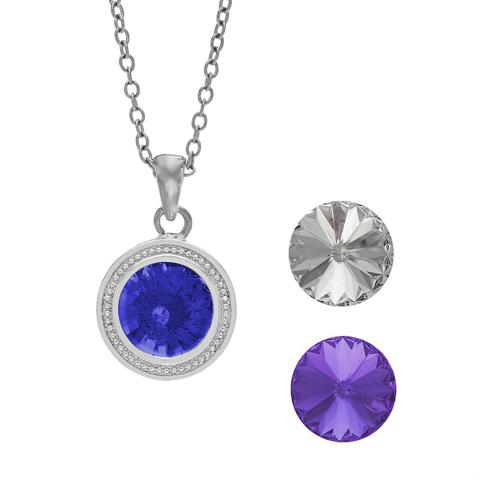 Illuminaire Interchangeable Crystal Silver-Plated Halo Pendant Set - Made with Swarovski Crystals