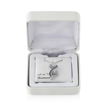 Love Is Forever 1/5 Carat T.W. Black and White Diamond Sterling Silver Double Heart Pendant Necklace