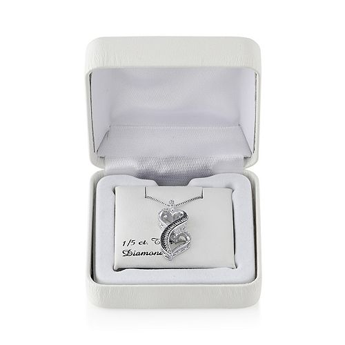 Love Is Forever 1/5 Carat T.W. Black & White Diamond Sterling Silver Double Heart Pendant Necklace