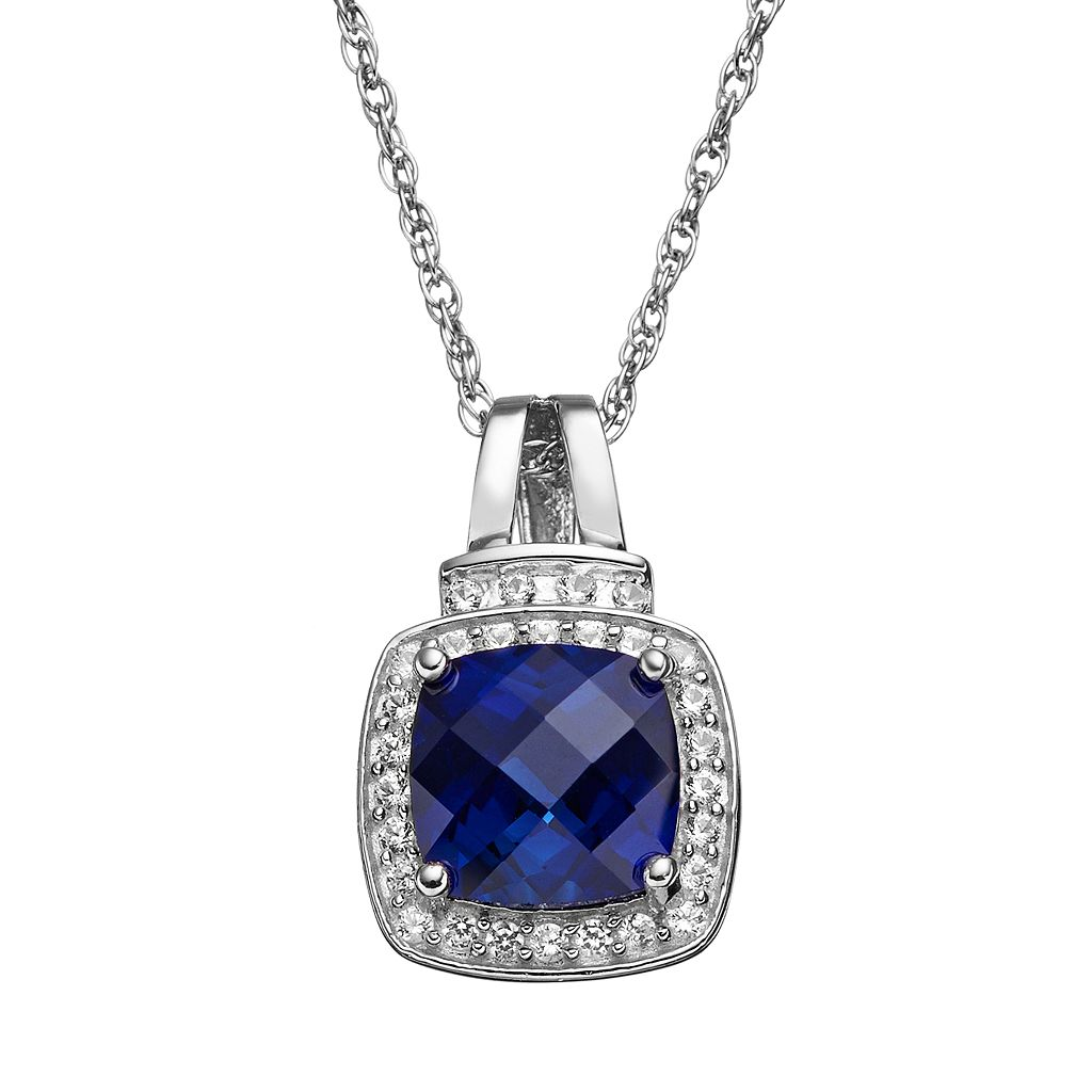 Lab-Created Blue & Lab-Created White Sapphire Sterling Silver Square Halo Pendant Necklace