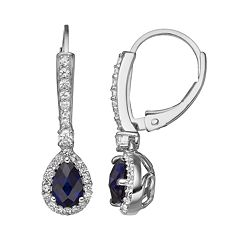 Lab-Created Blue & Lab-Created White Sapphire Sterling Silver Halo Teardrop Earrings