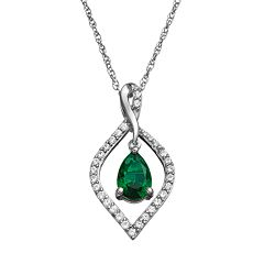 Simulated Emerald & Lab-Created White Sapphire Sterling Silver Marquise Pendant Necklace