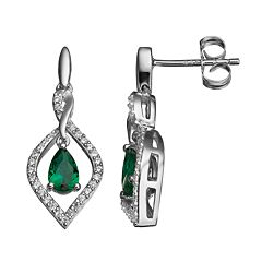 Simulated Emerald & Lab-Created White Sapphire Sterling Silver Marquise Drop Earrings