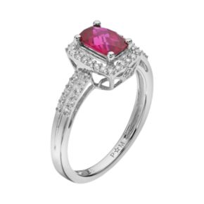 Lab-Created Ruby & Lab-Created White Sapphire Sterling Silver Rectangle Halo Ring