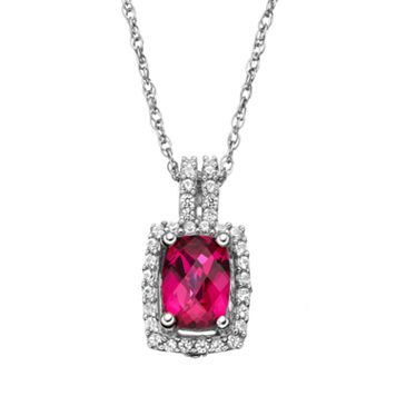 Lab-Created Ruby & Lab-Created White Sapphire Sterling Silver Rectangle Halo Pendant Necklace