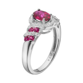 Lab-Created Ruby & Lab-Created White Sapphire Sterling Silver Swirl Ring