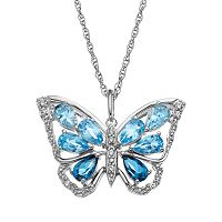 Blue Topaz Sterling Silver Butterfly Pendant Necklace