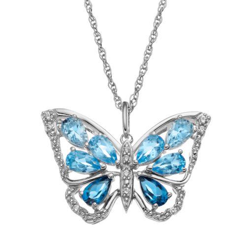 Blue Topaz Sterling Silver Butterfly Pendant Necklace