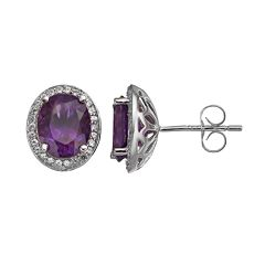 Amethyst & Lab-Created White Sapphire Sterling Silver Oval Halo Stud Earrings