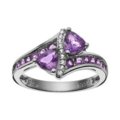 Gemstone Sterling Silver Bypass Ring