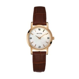Bulova Women's Diamond Leather Watch - 97P105