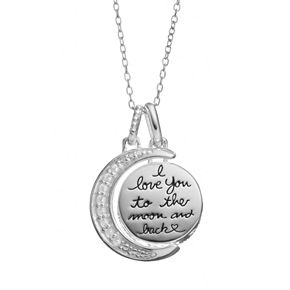 Love You To The Moon and Back Cubic Zirconia Sterling Silver Moon Pendant Necklace