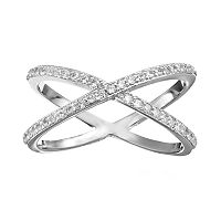 Cubic Zirconia Silver-Plated Crisscross Ring