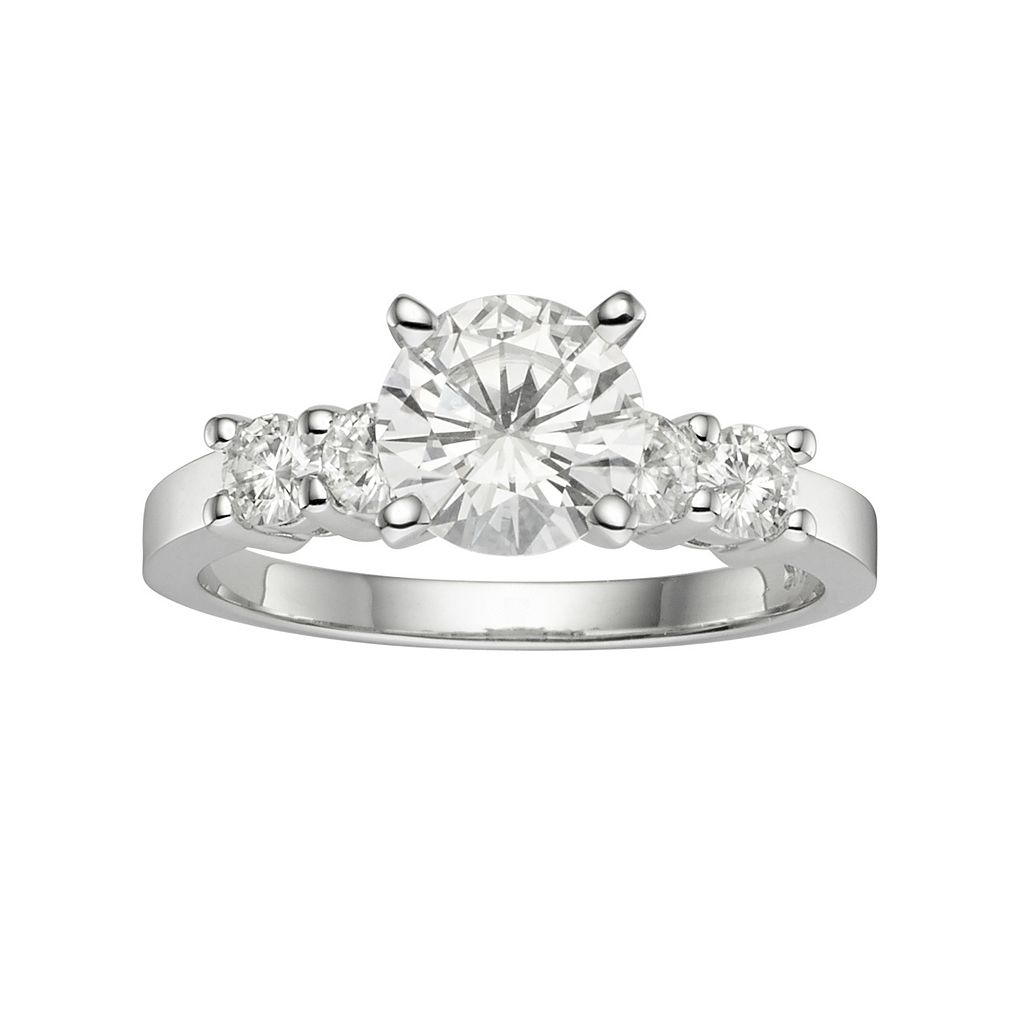 Forever Brilliant Lab-Created Moissanite Engagement Ring in 14k White Gold (1 3/8 Carat T.W.)