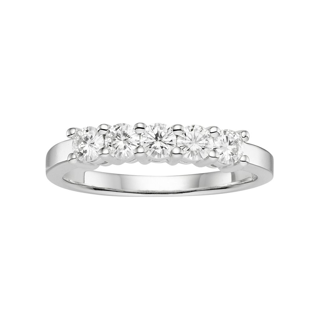 Forever Brilliant Lab-Created Moissanite 5-Stone Wedding Ring in 14k White Gold (1/2 Carat T.W.)