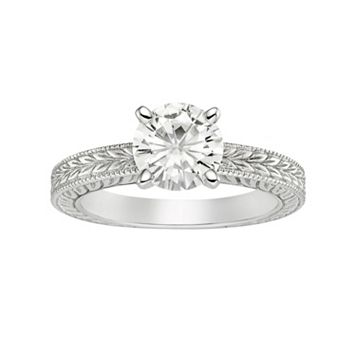 Forever Brilliant Lab-Created Moissanite Solitaire Engagement Ring in 14k White Gold (1 1/2 Carat T.W.)
