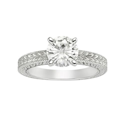 Forever Brilliant Lab-Created Moissanite Solitaire Engagement Ring in 14k White Gold (1 1/2 Carat T....